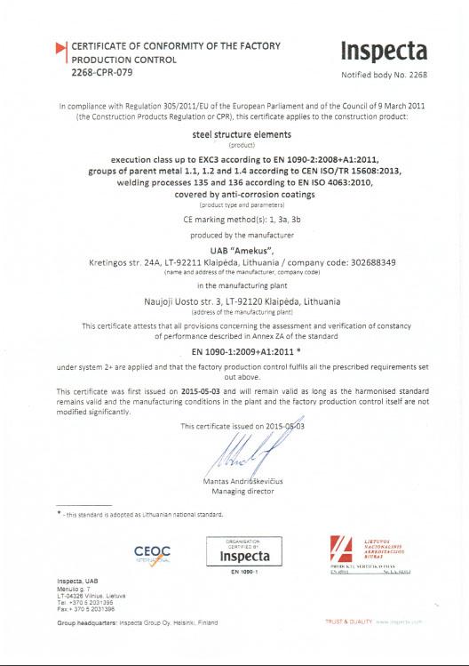 EN 1090 sertifikatas amekus